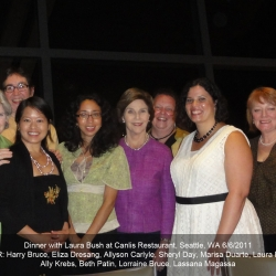 Eliza with Laura Bush and group at Canlis in 2011